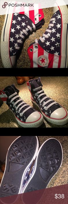 Converse American flag Size 4y preowned and. In excellent shape! Converse Shoes Sneakers
