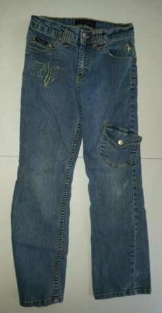 "Girl's Sz 8 Baby Phat Stretch Jeans | Embroidered | Cat | 23"" inseam 