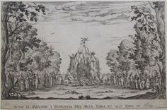 """Avviso di Mercurio a Berecintia Dea della Terra, et alle Ninfe de Campi (1628), etching by Alfonso Parigi [il Giovane] (1606-1656), of his set design for Act 1 of """"La Flora"""" (1628), by Marco da Gagliano (1582-1643) and Jacopo Peri [il Zazzerino] (1561-1633), published in the libretto."""