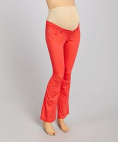 Another great find on #zulily! Red Over-Belly Bootcut Jeans - Women by Mom & Co. #zulilyfinds