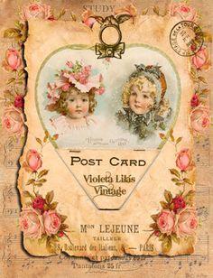 Violeta lilás Vintage: Imagem Vintage com Crianças e Flores