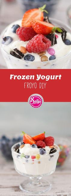 Frozen Yogurt / FroYo DIY / light yoghurt ice cream made from 4 ingredients / a little sugar - Would you like a delicious ice cream? Then frozen yogurt is a brilliant idea. You only need 4 ingre - Desserts For A Crowd, Fancy Desserts, Delicious Desserts, No Dairy Recipes, Fruit Recipes, Yogurt Recipes, Shake Recipes, Brownie Ice Cream, Cream Cake