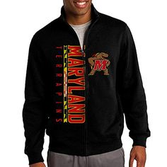 ILKU Mens Maryland University Full Zip Hoodies Jacket Black Size L * You can get more details by clicking on the image.