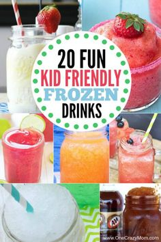 Take a look at these 20 kid friendly frozen drink recipes. Beat the heat with these quick and easy non-alcoholic frozen drinks. They are all so delicious and refreshing! Try these kid friendly frozen drinks. Everyone will enjoy these non alcoholic frozen Frozen Drink Recipes, Frozen Drinks, Kid Drinks, Summer Drinks, Summertime Drinks, Beverages, Easy Cocktails, Cocktail Recipes, Easy Kid Friendly Dinners