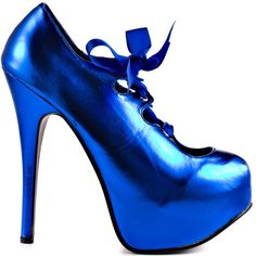 Give your look some serious glam in this alluring Bordello pump.  City Of Angels brings you a bright and flashy blue metallic upper accompanied by a girly ribbon bow at the vamp.  Be a show off in the 6 inch heel and 2 inch platform.