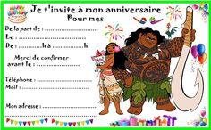 Invitation Fete, Invitations, Moana Birthday, Etiquette, School Supplies, Party, Blog, Disney, Images