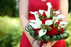 Flowers -- White Calla Lilies, Hypericum Berries, Cockscomb with Grasses and silver accent wire collar Bridal Bouquet.