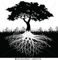 Vector - Tree roots silhouette - stock illustration, royalty free illustrations, stock clip art icon, stock clipart icons, logo, line art, EPS picture, pictures, graphic, graphics, drawing, drawings, vector image, artwork, EPS vector art