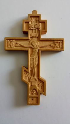 Miniature wood carved cross in Russian style (I made this Cross from boxwood. 5x8cm, 2x3 in).