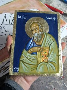 Byzantine icon of Saint John the Theologian, greek icon of the Evangelist Ioannis of Patmos orthodox icons and ikona art of Greece http://etsy.me/2CnJe6Y #art #painting #blue #gold #byzantineicons #apocalypsegospel