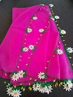 Papatya motifli iğne oyalı tülbent kenarı - Kadınlar Sitesi