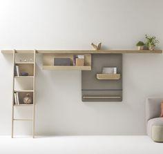 Sistema di scaffali a muro / moderno / in legno massiccio / ad uso residenziale…