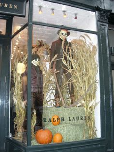 Ralph Lauren Halloween window display, Mannequin Madness can provide all of your distressed mannequin and mannequin parts needs. Visit www. Halloween Window Display, Halloween Displays, Halloween Decorations, Window Display Retail, Fall Window Displays, Display Windows, Store Displays, Retail Displays, Store Windows