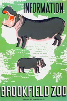 vintage WPA Poster of Hippo Brookfield Zoo