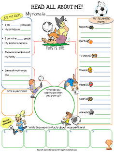 Soccer All About Me Printable - This soccer themed All About Me 1 page worksheet (8.5x11) can be used as an icebreaker, get to know each other activity, Community Circle exercise, student of the week spotlight, birthday celebration spotlight, etc. The soccer theme adds a fun element for the students.
