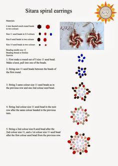 KIKI GYÖNGYEI: Sitara spirál fülbevaló minta - pattern