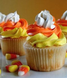 Candy Corn Vanilla Frosting Halloween Cupcakes