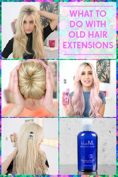 hair hair extensions What to Do with Old Hair Exten Hair Extensions Tutorial, Tape In Hair Extensions, Hairstyles With Extensions, Bad Hair, Hair Day, Luxy Hair, Hair Extension Care, Hair Toppers, Spa