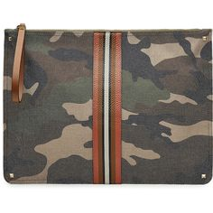 Valentino Camouflage Printed Pouch (1,320 CAD) ❤ liked on Polyvore featuring men's fashion, men's accessories, green and mens leather accessories