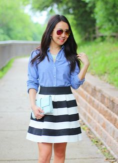 chambray shirt, black and white, stripe skirt, mint clutch | www.myrosecoloredshades.com
