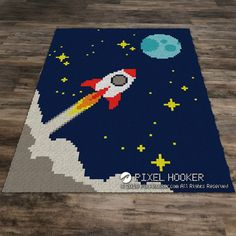 Fly Me to the Moon crochet blanket. SC (Single Crochet), HDC (Half Double Crochet), DC (Double Crochet), TSS (Tunisian Simple Stitch), or Bobble Stitch blankets. Crochet Double, Crochet For Boys, Single Crochet, Crochet Baby, C2c Crochet Blanket, Crochet Blanket Patterns, Thé Illustration, Illustrations, Colchas Quilting