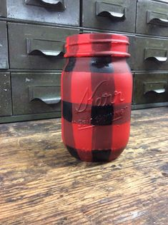 Fresh Vintage by Lisa S: How to Paint BUFFALO CHECK PLAID - RED on Mason Jars