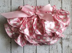 Pink & White Polka Dot Satin Ruffle Bloomers- Minnie Mouse- Diaper Cover- Baby Girl Outfit- Newborn Outfit- Cake Smash Outfit- Photo Prop on Etsy, $7.95