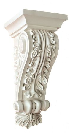 Beautiful Corbel as is, or can be accented for more sophisticated design with any Molding, Cove or Cornice. Decorative, smooth corbel is Primed and ready to paint or stain. There are many great reasons for installing corbels in your home. Columns For Sale, Decorative Corbels, Decorative Objects, Muebles Shabby Chic, Casas Shabby Chic, Modelos 3d, Carving Designs, Cornice, Acanthus
