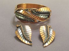 Vintage WHITING DAVIS Copper Beaded Textured LEAF by TheCopperCat, $78.00