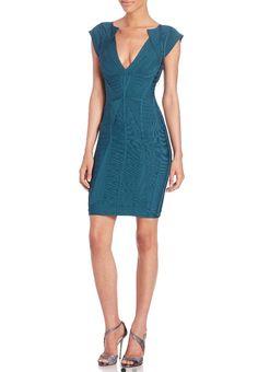 31420bb3e06 Herv Leger Nwt V-neck Cap Sleeve Bandage Dress. Free shipping and  guaranteed authenticity. Tradesy