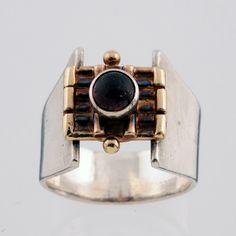 Vintage Modernist Brutalist Mid Century Sterling Silver, 14k Gold, Garnet Ring Size 7 by OldSoulDecorMarket on Etsy
