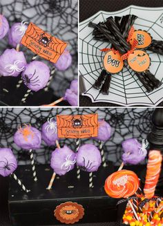 Cotton Candy + Striped Straws (plus plastic spiders) makes GENIUS Spiderwebs!!! Totally cute for Halloween parties!!! Love this idea.