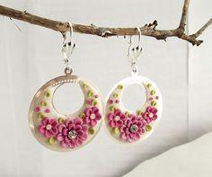 Floral Dangle Earrings Pink Flower Earrings Silver Earrings Light Weight  Spring Earrings Clay Flower Jewellery Fashion  Pink White Earrings...