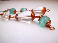 Blue and clear crystal earrings wire wrapped di MyLittleBlueDot, €12.95