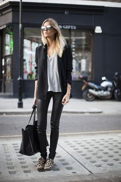 Camille Charriere   Camille Over the Rainbow   Longline blazer (Zara). T-shirt (Olive Clothing). Leather leggings (Joseph). Espadrilles (Céline). Tote (Céline). Sunnies (Sheriff & Cherry). Necklaces (Jennifer Zeuner).