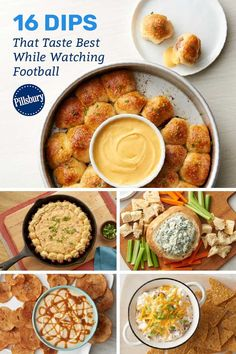 These dips come out on top, even if your team doesn't! From salty to cheesy to sweet, there's something for everyone's taste buds on our big list of dips. Ranch Dip, Game Day Food, Pillsbury, Taste Buds, Dips, Goodies, Appetizers, Cooking Recipes, Football