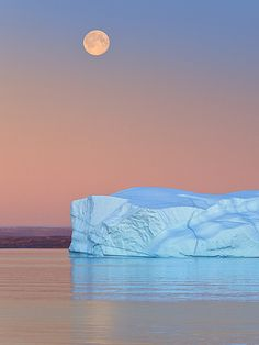 Moonrise and Icebergs