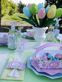 Easter basket ideas,  Easter egg bouquet, Easter Table Centerpiece, Easter Party ideas #2014 #Easter #eggs #bunny #rabbit #recipes #crafts www.loveitsomuch.com