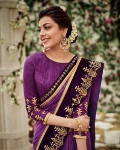 Kajal Agarwal Beautiful Saree Photos, Kajal Agarwal Traditional Photos Latest, Stay tuned for more actress photos. Fancy Sarees, Party Wear Sarees, Beautiful Saree, Beautiful Dresses, Beautiful Women, Kajal Agarwal Saree, Purple Saree, Purple Blouse, Pretty Quinceanera Dresses