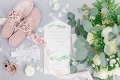 Beautiful and classic watercolor wedding invitation suite and Tory Burch wedding sandals | Rachel Laxton Photography