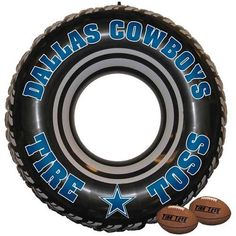 """NFL Dallas Cowboys Tire Toss Game by Fremont Die. $24.95. Dallas Cowboys Tire Toss GameImportedOfficially licensed Cowboys gameIncludes 2 softee footballs, rope & attachment fittingAges 3+Inflatable tire measures 30""""Ages 3+Inflatable tire measures 30""""Includes 2 softee footballs, rope & attachment fittingImportedOfficially licensed Cowboys game"""