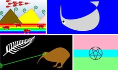 A composite of four potential new national flags for New Zealand