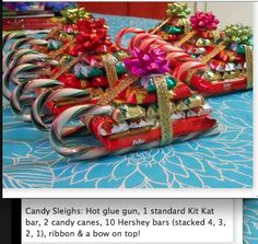 Cute candy cane sleigh with Kit Kat bar and mini Hershey bars!