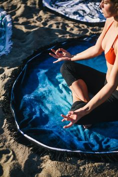 Find yourself in the now. Blue Lagoon Round Towel.