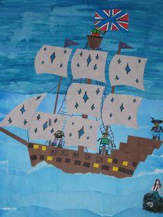 art teacher: Susan J. Third Grade Art, Pirate Activities, First Fleet, Pirate Art, Boat Art, Art Corner, Art N Craft, Autumn Art, Art Lesson Plans