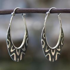 Sterling silver hoop earrings, 'Antique Taxco Lace' - Artisan Crafted Taxco Silver Hoop Earrings from Mexico