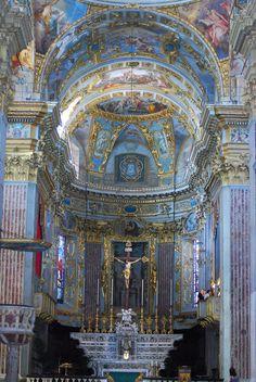 Interior of the Basilica of San Giovanni Battista in Finale Ligure, Province of Savona, Liguria, Italy