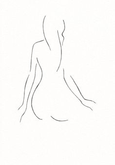 Gallery wall art. Black and white minimalist line drawing by siret