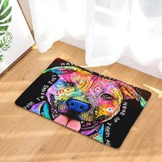 Graffiti Dog Floor Mat Animal Printing Outdoor Door Mats 40cm*60cm Rectangular Rugs Washable Living Room Kitchen Carpet