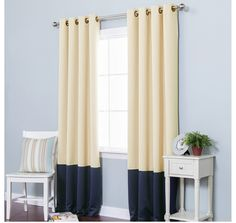 Beige Navy Color Block Pattern Window Curtain Set 84 Inch Pair Panels Two toned Blue Colour Stylish Modern Contemporary Thermal Insulated Blackout